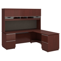 Bush Milano2 72x24 Left Handed L Station with Hutch - Harvest Cherry