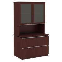 Bush Milano2 36W 2 Drawer File with Hutch - Harvest Cherry