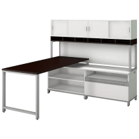 Bush Momentum 72 inch L Workstation - Mocha Cherry