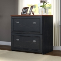 Bush Fairview Black/Hansen Cherry Lateral File Cabinet