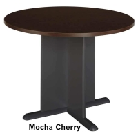 Bush 42 inch Round Conference Table - Mocha Cherry