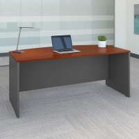 Bush Series C 72W Bow Front Desk in Hansen Cherry