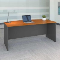 Bush Series C 72 inch Bow Front Desk - Natural Cherry