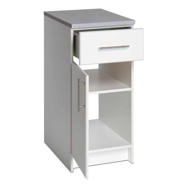 Prepac 16 inch base cabinet with drawer door wed 1636 for Kitchen cabinets 16 inches deep