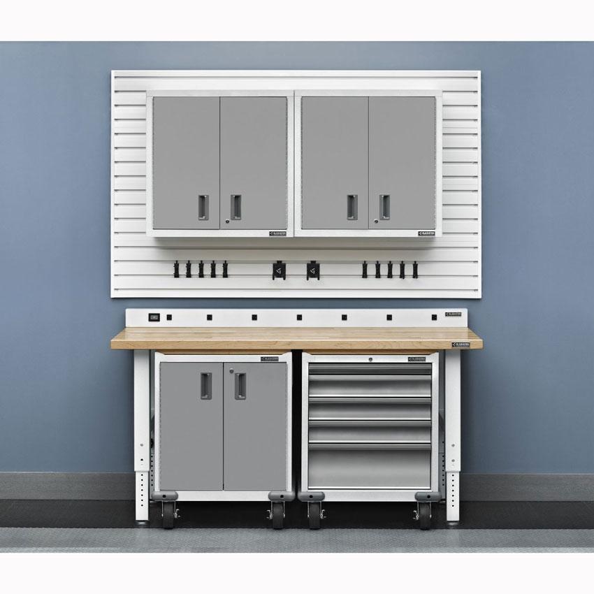 Gladiator premier white modular geardrawer cabinet for Premier garage cabinets