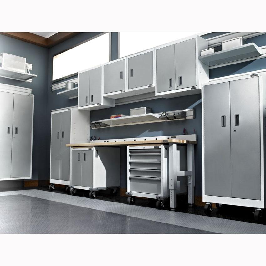 Gladiator premier white jumbo gearbox cabinet gajg36fdzw for Premier garage cabinets