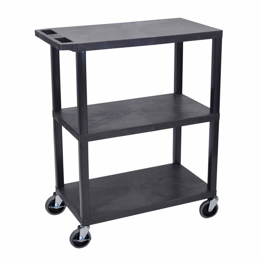 luxor ea42 b 3 flat shelves black utility cart. Black Bedroom Furniture Sets. Home Design Ideas