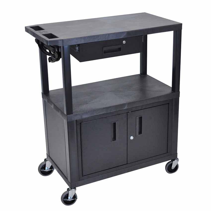 Luxor Ea42cde B 3 Flat Shelves W Cabinet Drawer