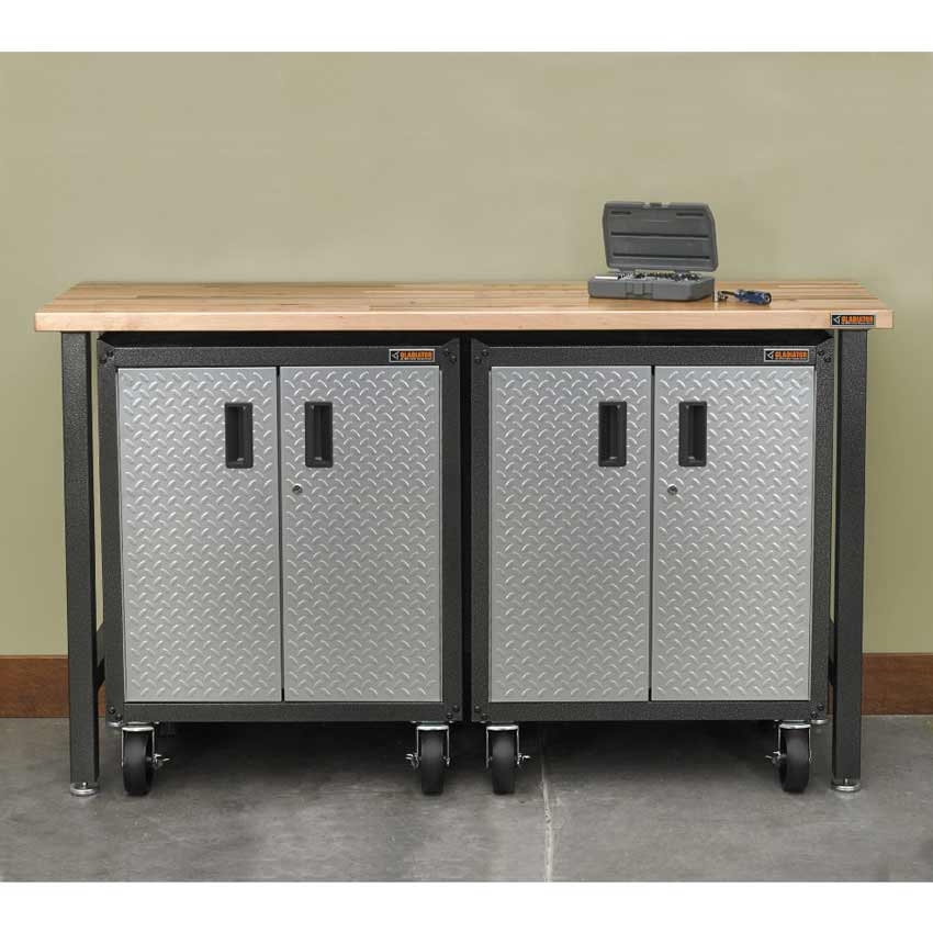 4 Ft Hardwood Top Adjustable Height Workbench In Hammered Granite Gladiator 4 Ft Hardwood Top