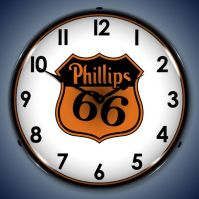 USC Phillips 66 Gas Lighted Clock