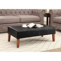 4D Concepts Large Faux Leather Coffee Table - Black