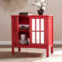 SEI Pike Double-Door Mirrored Cabinet - Red