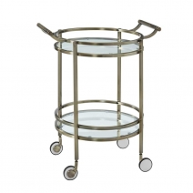 Powell Antique Brass Round Service Cart