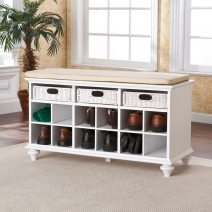 SEI Chelmsford Entryway Bench-White