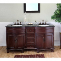 Bellaterra 62 in Double Sink Wood Vanity in Colonial Cherry & Black Galaxy Granite