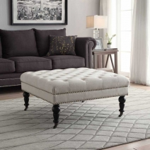 Linon Isabelle Square Tufted Ottoman - 2 Colors