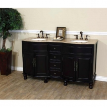 Bellaterra 62 in Double Sink Wood Vanity in Dark Mahogany & Travertine