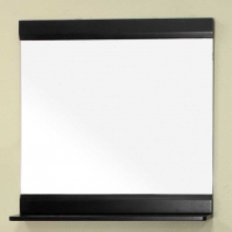 Bellaterra 31.5 in. Solid Wood Frame Mirror with Shelf - Black