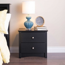 Prepac Sonoma Night Stand-2-Drawer in Black