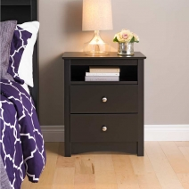 Prepac Sonoma Tall Night Stand-2-Drawer in Black