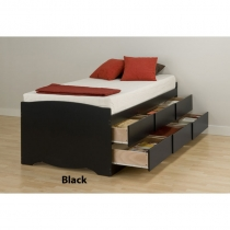 Prepac Black Tall Twin Platform Storage Bed (3 Finishes)