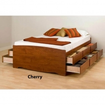 Prepac Tall Queen Cherry Finish Platform Storage Bed