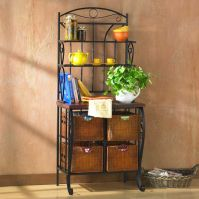 Holly & Martin Lillian Iron & Rattan Bakers Rack