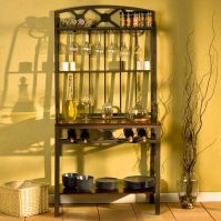 SEI Decorative Bakers Rack with Wine Storage