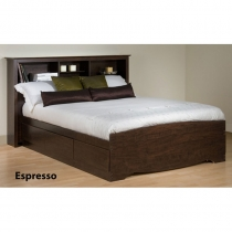 Prepac Espresso Double Platform Storage Bed