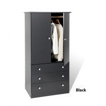Prepac Edenvale Black Junior Wardrobe (3 Finishes)