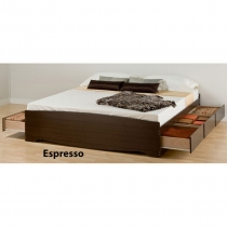 Prepac King Platform Espresso Storage Bed (3 Finishes)