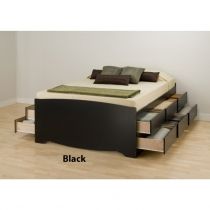 Prepac Tall Queen Black Finish Platform Storage Bed
