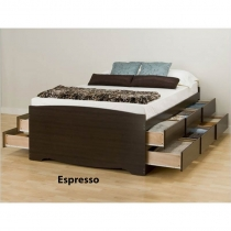 Prepac Tall Queen Espresso Finish Platform Storage Bed