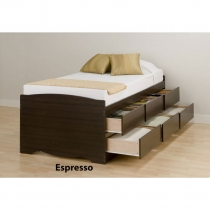 Prepac Espresso Tall Twin Platform Storage Bed (3 Finishes)