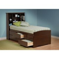 Prepac Tall Twin Espresso Bookcase Headboard/Bed