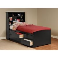 Prepac Sonoma Black Tall Twin Bookcase Headboard/Bed