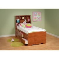 Prepac Monterey Cherry Finish Tall Twin Bookcase Headboard/Bed