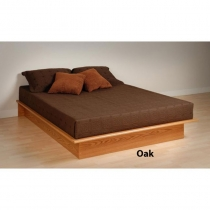 Prepac Oak Platform Bed in Full or Queen Size  (3 Finishes)