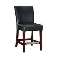 Powell Black Bonded Leather Stool
