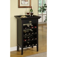 Powell Black with Merlot Rub Wine Cabinet