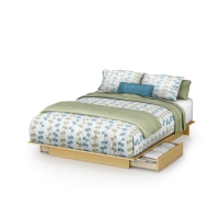 South Shore Step One Storage Platform Bed 54/60 - Natural Maple