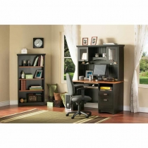 South Shore Gascony Desk/Hutch/Bookcase Set - Ebony/Spice