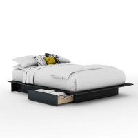 South Shore Step One Storage Platform Bed 54/60 - Pure Black