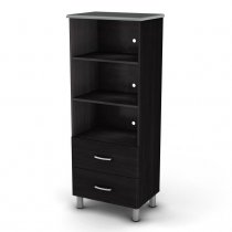 South Shore Cosmos Shelf Bookcase - Black Onyx/Charcoal
