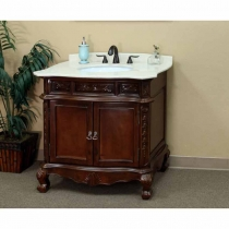 Bellaterra 34.6 in. Single Sink Vanity - Medium Walnut