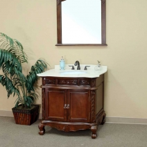 Bellaterra 34.6 in. Medium Walnut Single Sink Vanity - 2 Options