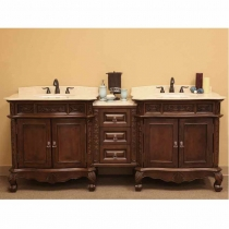 Bellaterra 82.7 in. Double Sink Vanity w/Bridge - Medium Walnut