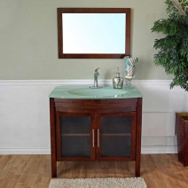 Bellaterra 39.4 in. Single Sink Wood Vanity in Walnut