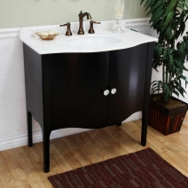 Bellaterra 36.6 in. Single Sink Vanity - Black-White Marble