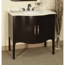 Bellaterra 36.6 in. Single Sink Vanity - Medium Walnut